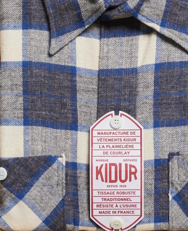 chemise à carreaux blanc et bleu kidur