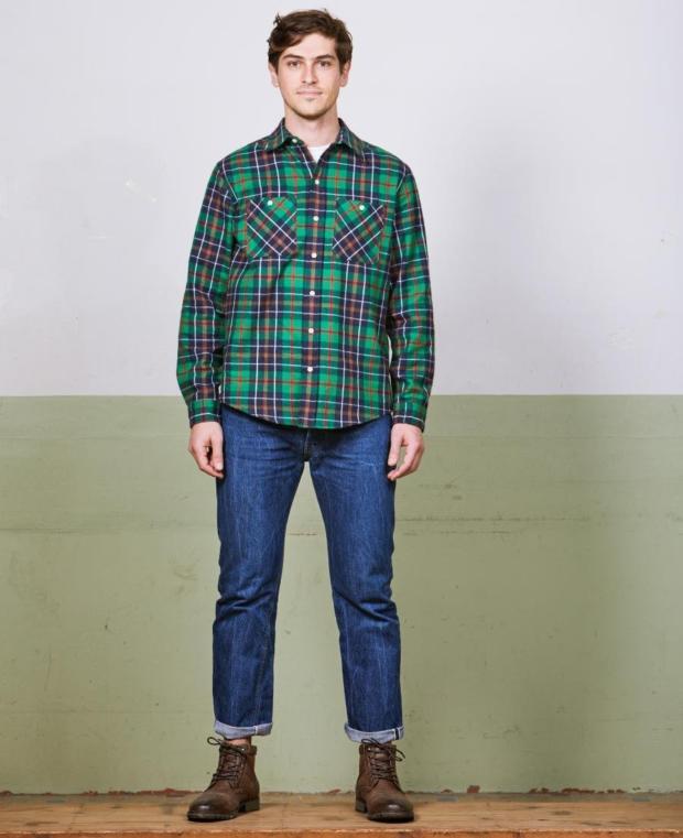 chemise à carreaux vert kidur