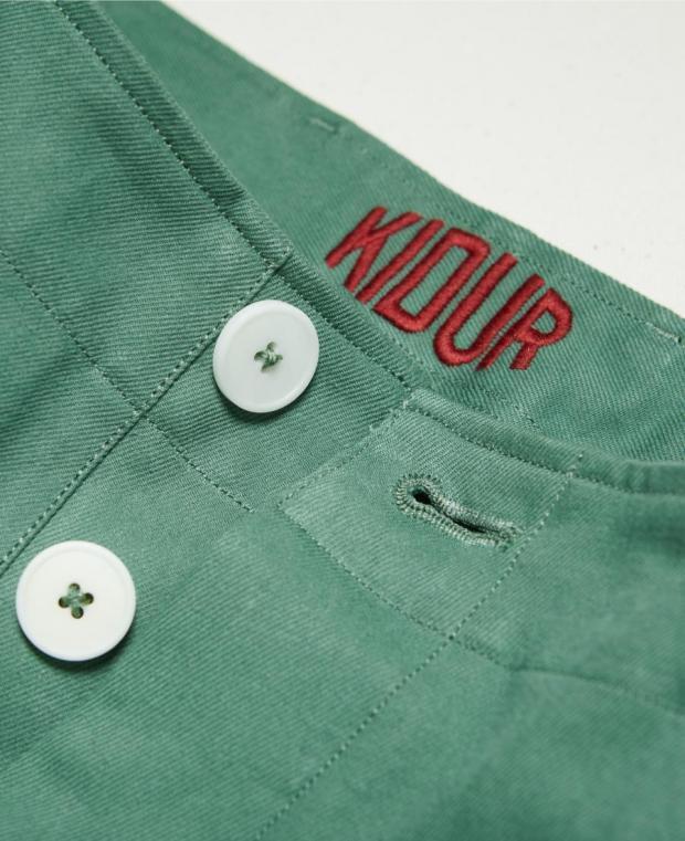 pantalon kidur vert détails boutonnière