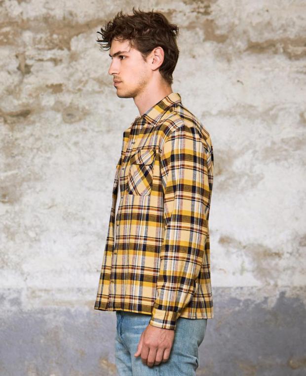 chemise à carreaux jaune kidur