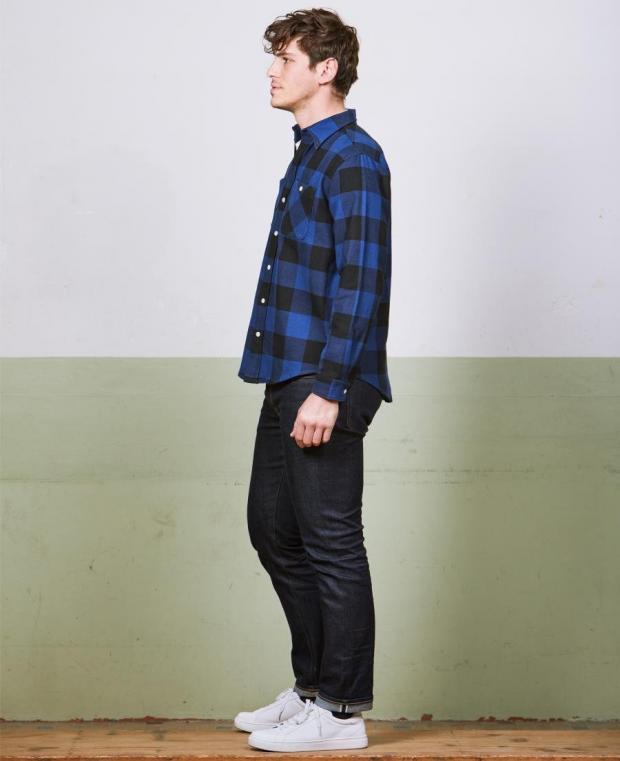 chemise à carreaux noir et bleu kidur